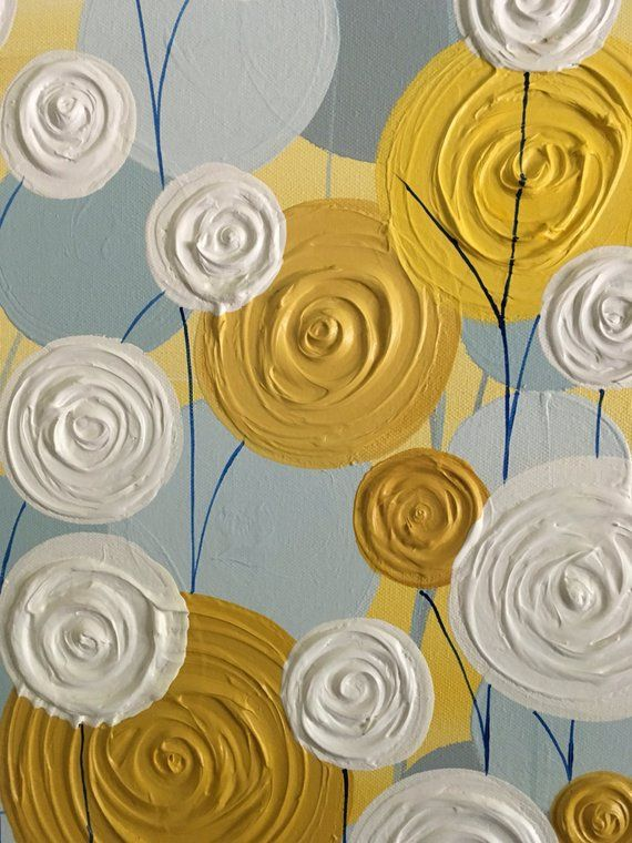 Yellow Blue And Grey Wall Art Textured Painting Abstract Flowers