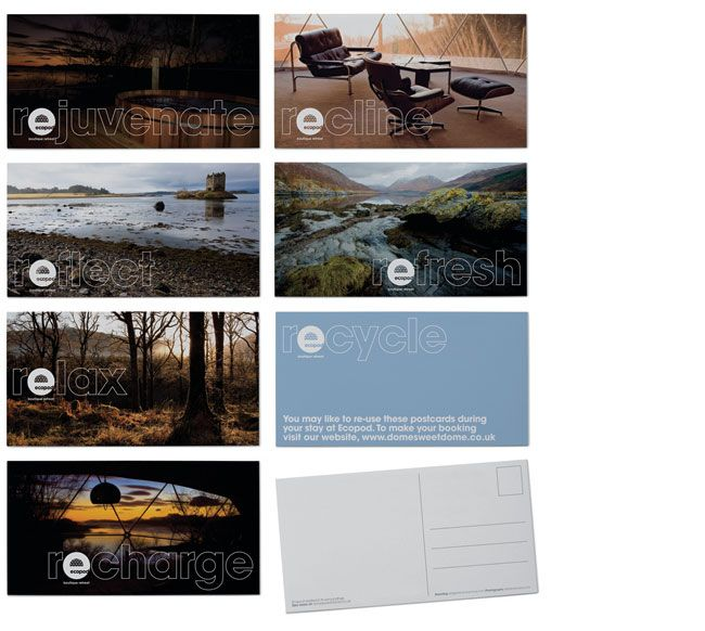 Ecopod postcards. Contributed by Christian Eager, partner and designer at London-based Designers Anonymous. Ecopod is a luxury eco-friendly holiday retreat in the Scottish Highlands. The brand identity focused on the high quality of the experience, avoiding the clichés that go hand-in-hand with all things 'eco'.