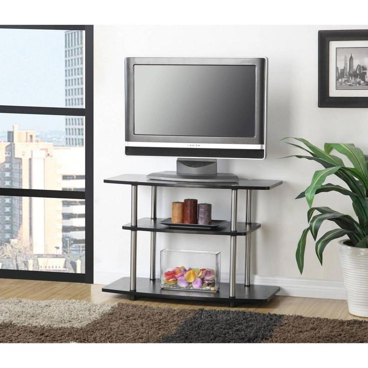3 Tier TV Stand 32 Inch TV Table Black TV Stands With 2 Bookshelves Bookcase