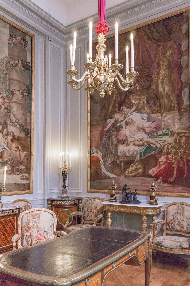 European interiors. romantic tapestries