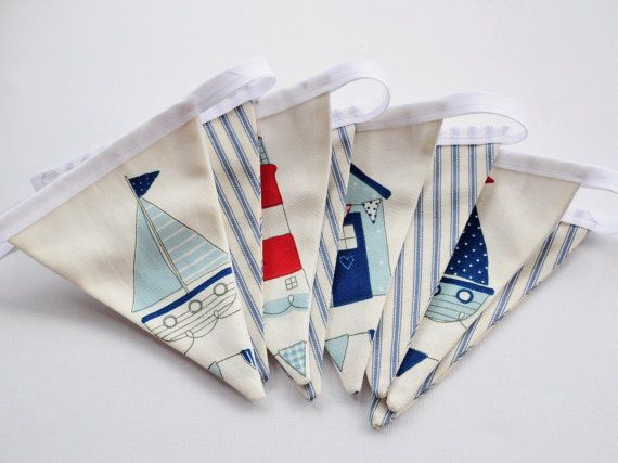 Nautical/Seaside Fabric Bunting Banner  Beach Hut by WillowsRoom,