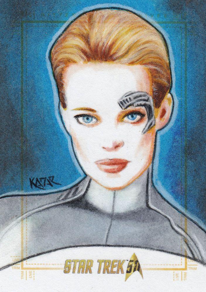 Star Trek 50th Anniversary sketch card SEVEN of NINE Artist Proof by Frank Kadar