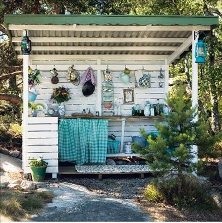 Make a Stand  The folks at Skonahem offer some inspiration with a cosy little kitchen created in a half shed. Perfect for hanging pots and pans, etc from the wall.   Photo by Madeleine Söder for Skonahem.