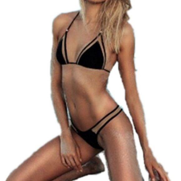 Sheer Bikini Brand new, and never worn Sheer navy colored bikini. only under Triangl to be seen triangl swimwear Swim Bikinis