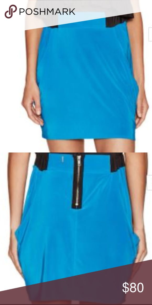 T-Bags Side Draped Mini Skirt Size xs T-Bags/ Size xs/ Pool Blue/ Elasticized waistband/ Side curved pockets/ Ruching at sides/ Partial back zip closure/ Fully lined/ Smoke free home/ Please ask questions/ Happy Poshing T-Bags Skirts Mini