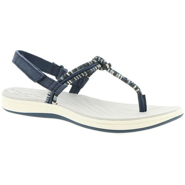 Sperry Top-Sider Seabrook Elsie Women's Navy Sandal 9 M ($54) ❤ liked on Polyvore featuring shoes, sandals, navy, ankle wrap sandals, ankle strap sandals, ankle tie sandals, sperry sandals and navy leather sandals