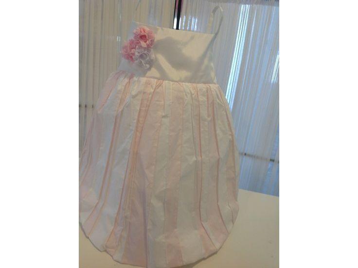 Βαπτιστικό φόρεμα ριγέ ρόζ