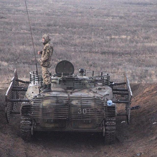 Ukrainian BMP-1P with cage armor.