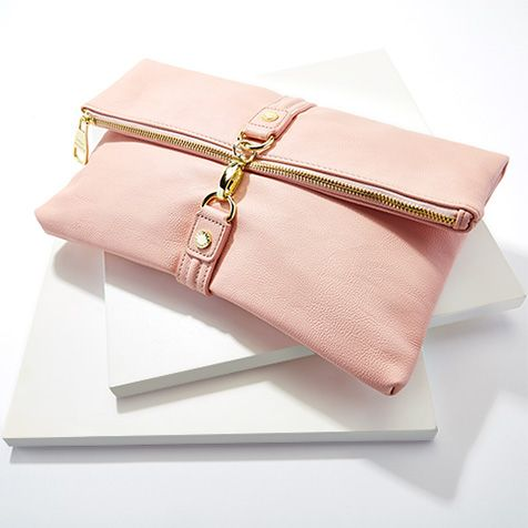 pink clutch purse in leather