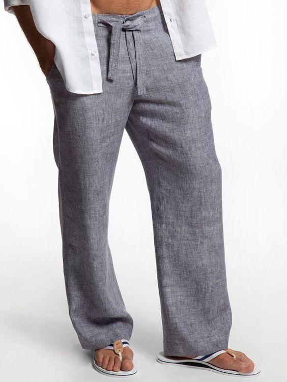 Drawstring  Linen Pants for Men by LittleLilbienen on Etsy: