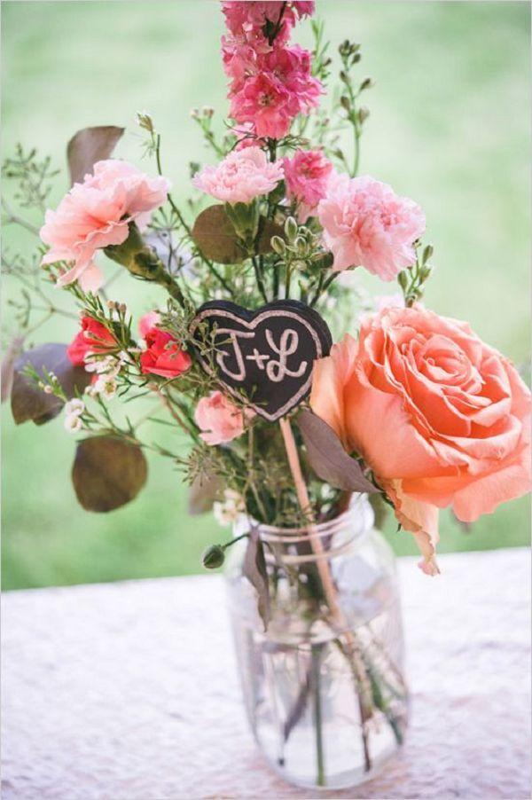 custumized chalkboard heart centerpiece for wedding reception tables - Deer Pearl Flowers