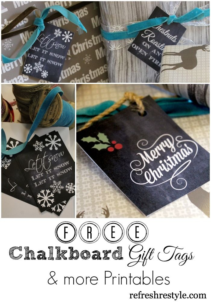 Chalkboard printables: great for Christmas gift present tags