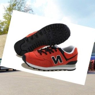 New Balance 574 men's Trainers Orange-Black HOT SALE! HOT PRICE!