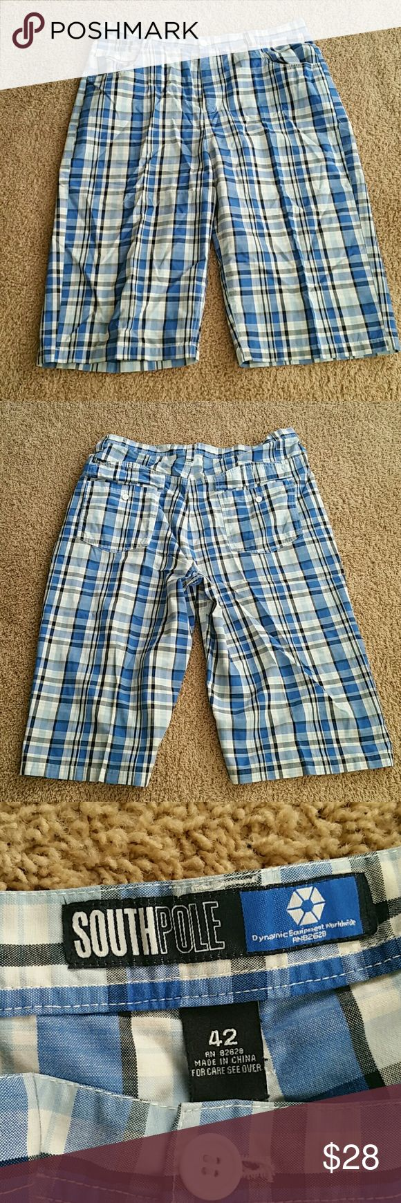 Men's plaid shorts Blue, white and black. 65% polyester and 35% cotton.  No trades. To save, make me an offer or bundle with my 25% discount! South Pole Shorts Flat Front