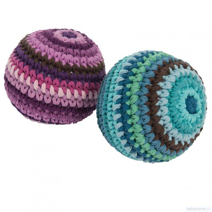 Sebra hæklet rangle - stor bold - 2 farver