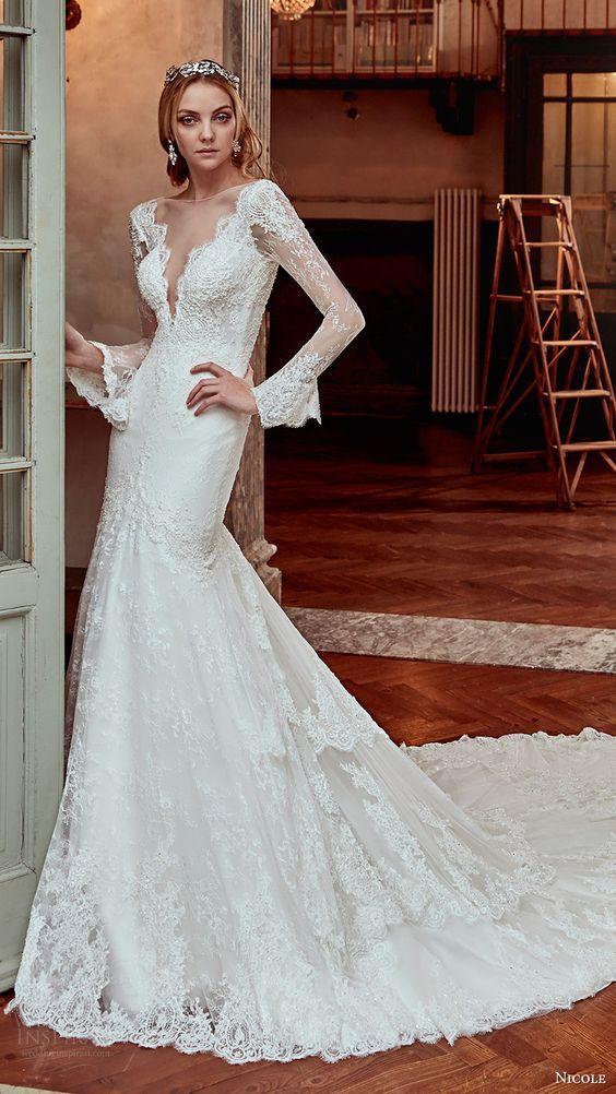 NICOLE SPOSE bridal 2017 long sleeves illusion deep v neck fit flare mermaid wedding dress