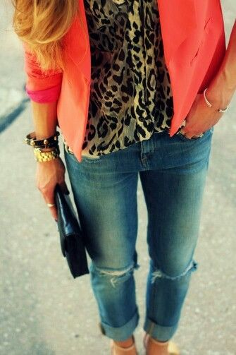coral jacket over leopard blouse
