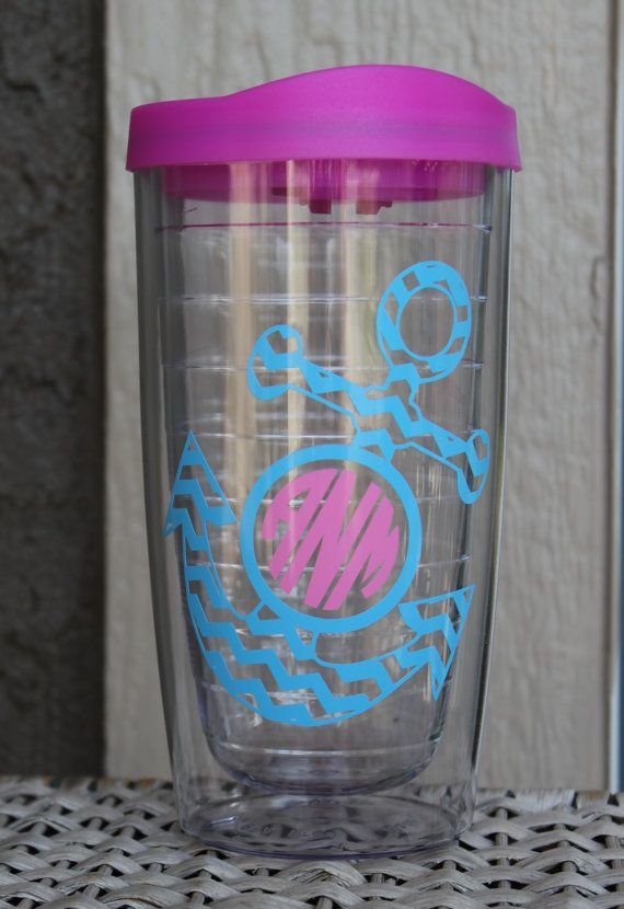 1 Personalized Acrylic Tervis-type Tumbler with monogram and anchor in your choice of vinyl colors and pink lid . Tumblers are perfect for the
