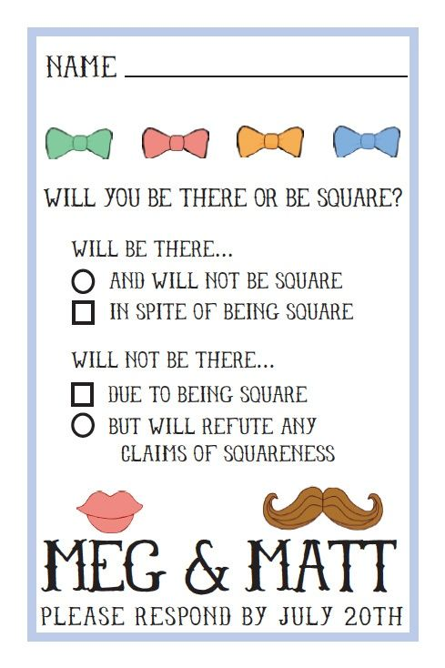 Be There Or Square Wedding RSVP Card Wording