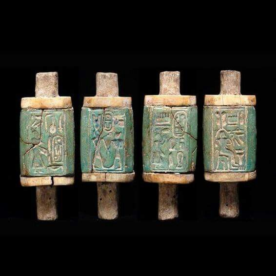 AN IMPORTANT EGYPTIAN FAIENCE AND IVORY WITH HIEROGLYPH CARTOUCHE OF RAMSES THE GREAT, 1279-1213 BC.
