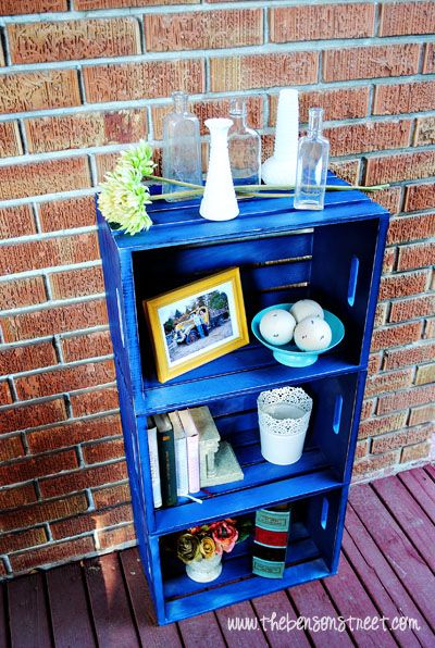 Distressed Colorful DIY Crate Book Case at www.thebensonstreet.com - love the bookcase idea, not the blue, though.