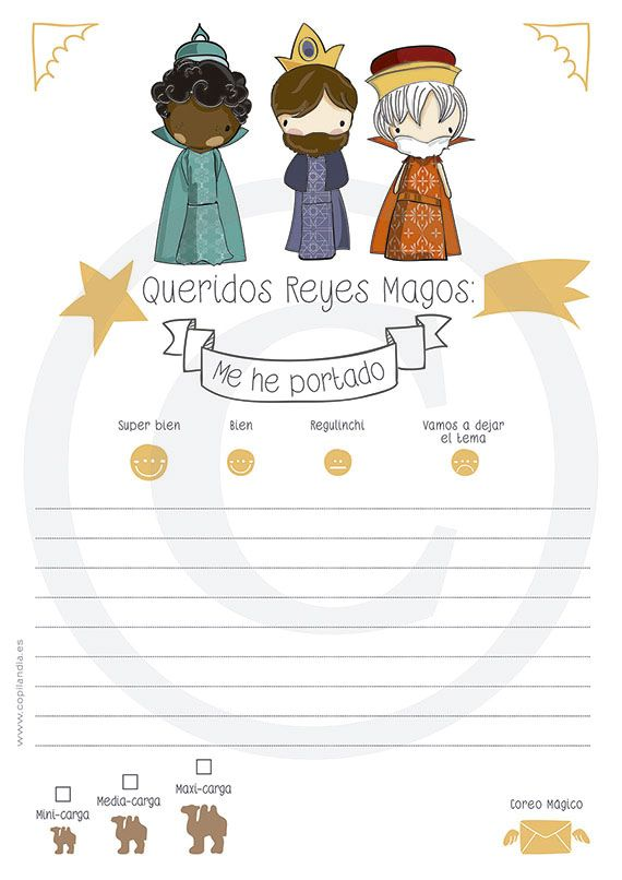 Carta de Reyes Magos. Imprimible.  A la venta en nuestra tienda on line. Lista para descargar e imprimir.