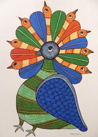 acrylic on paper by gond artist Rajendra Shyam