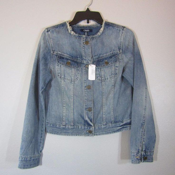 NEW Size Medium Chaps Denim Womens Jean Jacket Coat Button Blue  $99 NWT #ChapsDenim #JeanJacket #Casual