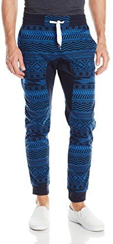 Southpole Mens Jogger Pants with All Over Aztec Patterns and Drop Crotch