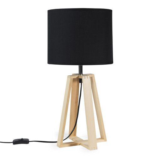 Lampe à poser en bois noire H 52 cm DUDLEY 36,99 € Maisons du Monde