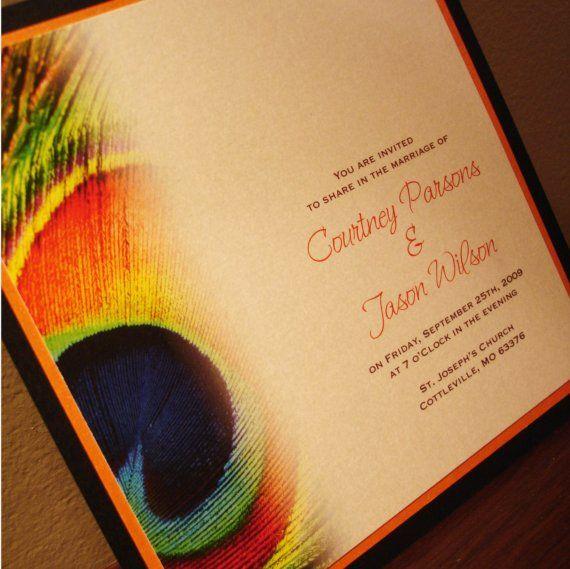 Peacock Wedding Invitation  Deposit by HarmonyDesign on Etsy, $25.00