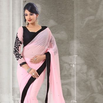 #Pink #Georgette #Saree with Blouse