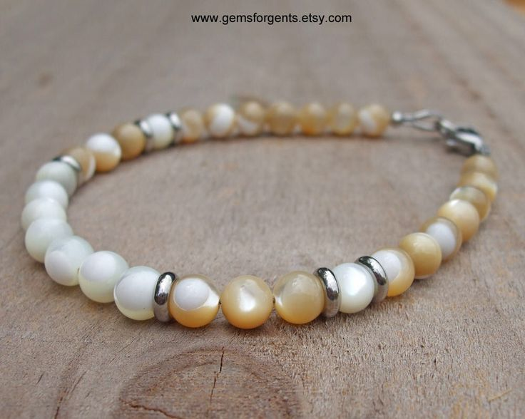 Cream and White Mother of Pearl, Mens Beaded Bracelet, Surfer Bracelet, Men Women Beach Jewelry – B26 by GemsForGents on Etsy https://www.etsy.com/listing/215026223/cream-and-white-mother-of-pearl-mens