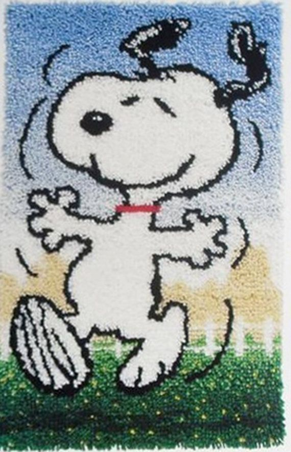 Vintage Dancing Snoopy Latch Hook Rug Kit 1970s I don't remember which pattern I did but I had at lease one of these and I think mom had to help me finish it!