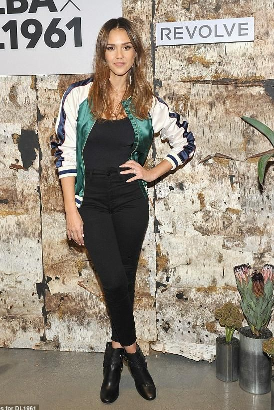 Jessica Alba wearing Lovers + Friends Bomber Jacket, DL1961 Jessica Alba No. 2 Trimtone Ankle Jeans and Wolford Jamaika Bodysuit
