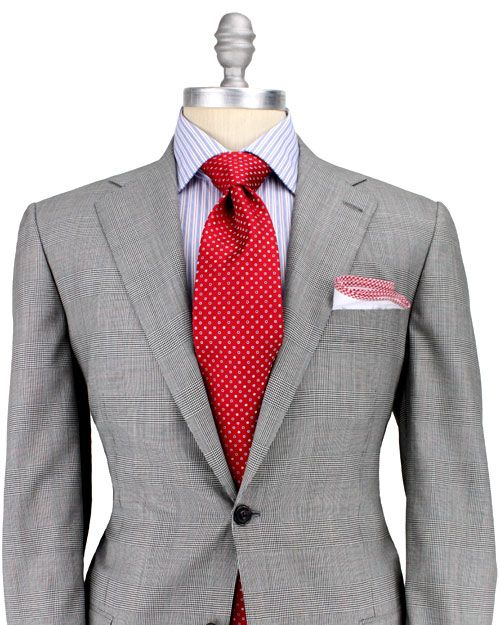 Grey Glen Plaid with Red Windowpane Suit