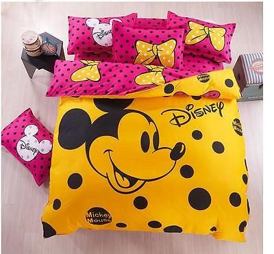 Twin and Queen Size Pink Yellow Mickey Mouse Style Duvet Cover Bed Set