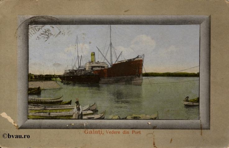 """Vedere din Port, Galati, Romania, anul 1924.  Imagine din colecţiile Bibliotecii Jedeţene """"V.A. Urechia"""" Galaţi."""