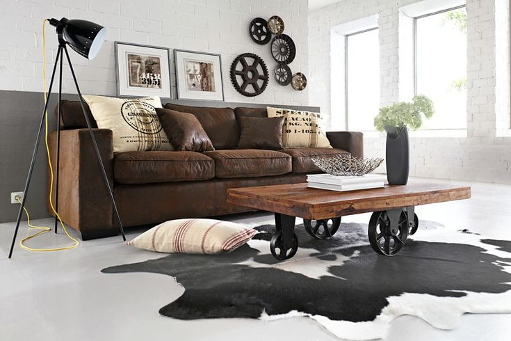 Peau de vache 800 533 pixels salon pinterest salons deco salon and cowhide rugs - Salon deco industriel ...