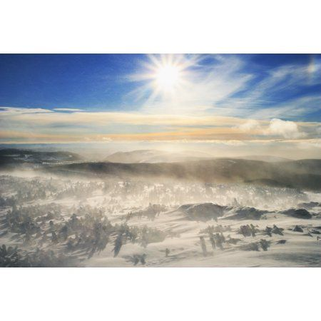 Blowing Snow And Mont Logan At Sunrise Gaspesie National Park Quebec Canvas Art - Yves Marcoux Design Pics (34 x 22)
