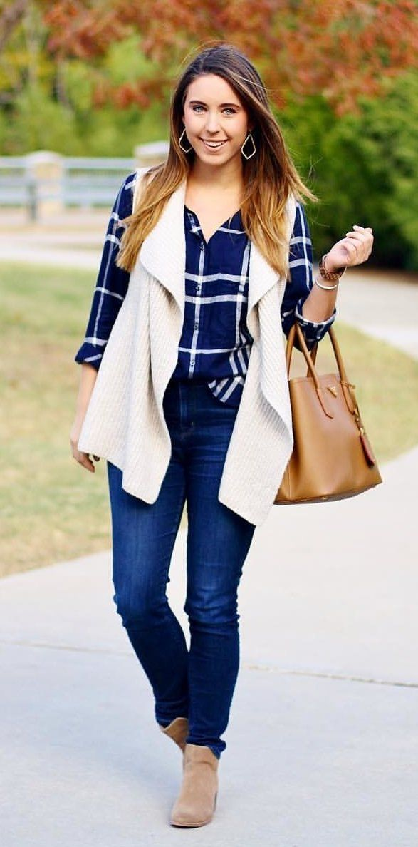 #fall #outfits women's blue and white long-sleeved shirt. Click To Shop This Look.