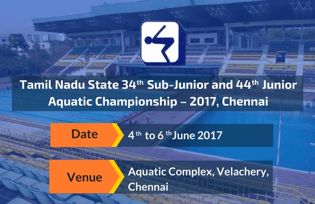 Tamil Nadu State Swimmers Mark Your Calendars! Tamil Nadu State 34th Sub-Junior and 44th Junior Aquatic Championship – 2017, Chennai is to be held from 4th to 6th June 2017. Check out more at #SwimIndia #SwimMeet