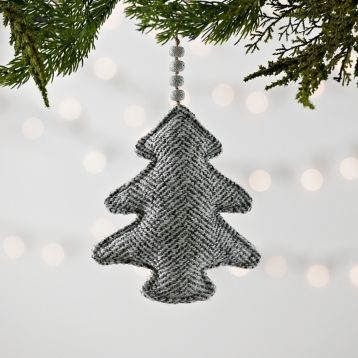 Gray Knit Chevron Christmas Tree Ornament | Kirklands