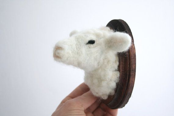 Wool Felt Sheep (Ovis aries) Faux-Taxidermy