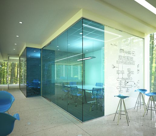 Blue glass different but looks feels like a fish tank Opening glass walls