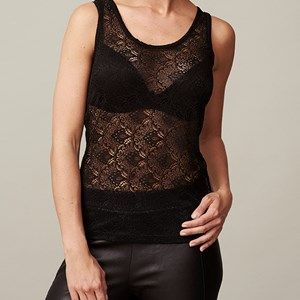 ANASTASIA tank top full lace, black. Sleeveless top in full lace. Use it under a cool jacket so the lace is to be seen.  Made of modal which is coloured by the eco-tex 100 standards.