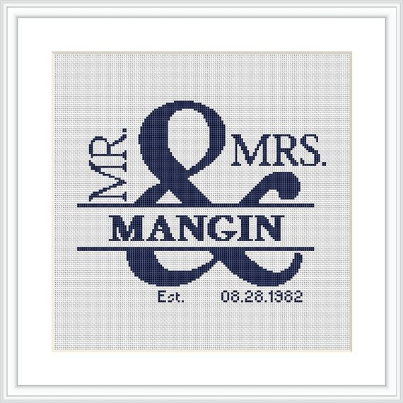 Custom wedding Cross Stitch Pattern PDF Mr and Mrs