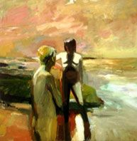 OC Museum of Art, Elmer Bischoff  Two Figures at the Seashore, 1957  Bischoff is best known for the role he played with Diebenkorn and Park in launching the Bay Area Figurative movement. The mood of Bischoff's enigmatic Two Figures at the Seashore is ominous; the nude couple appears to be caught in a psychological standoff heightened by the fiery red sky.
