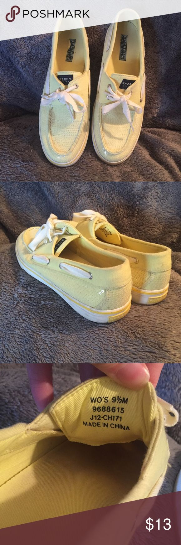 SPERRY sequins boat shoes SPERRY sequin boat shoes -color is a bright yellow/green -canvas/sequins (no leather) -worn a few times, but has some staining, please see picture for details Sperry Top-Sider Shoes Flats & Loafers