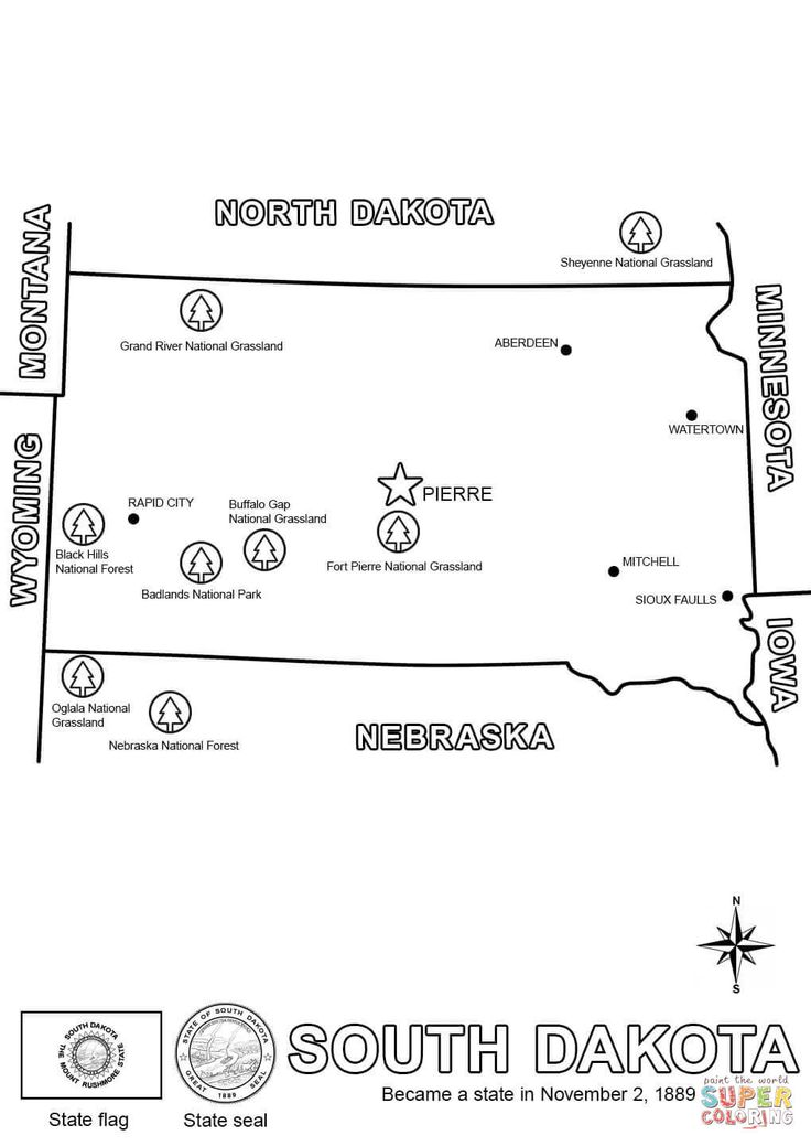Click The South Dakota State Map Coloring Pages To View Printable Version Or Color It Online